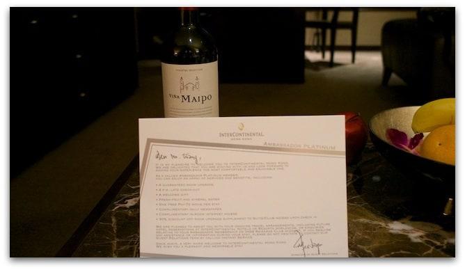香港洲際飯店大使會員迎賓卡及夜酒