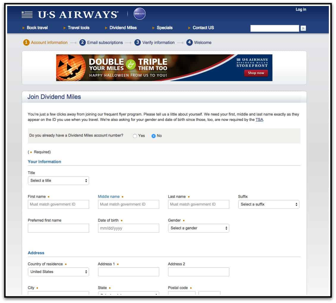 官方網站申請 US Airways 帳號