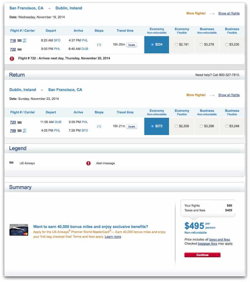 US Airways 舊金山飛都柏林來回機票 $495 。票價 $86,稅金 $409。