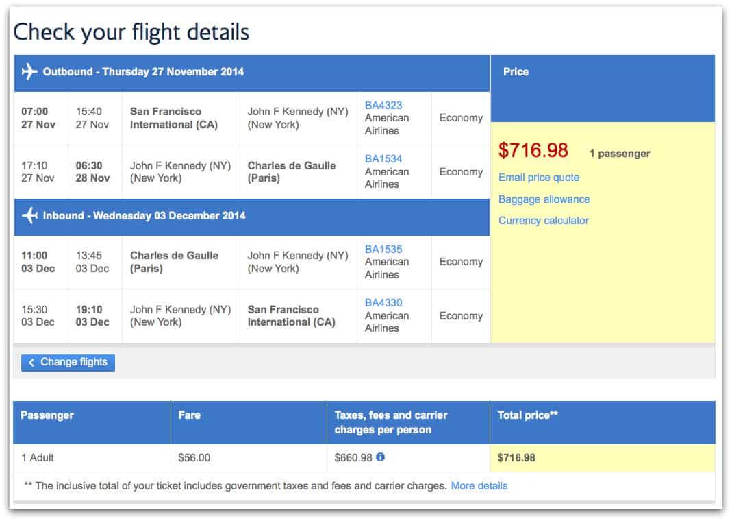英國航空 舊金山飛巴黎來回機票 $717 。票價 $56,稅金 $661。