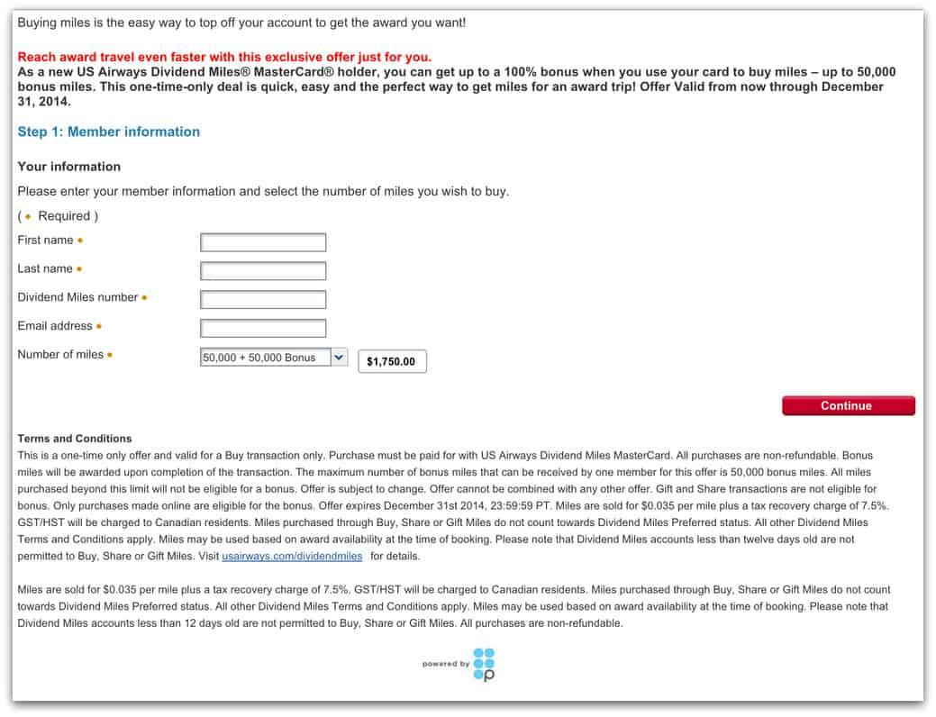 US Airways 官網里程優惠活動(連名卡新會員)