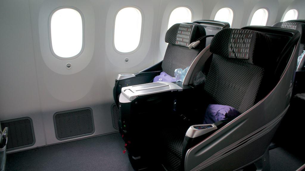 台北=大阪目前每天一航班採用 波音787-8 區域型商務艙。攝於 2014年12月。