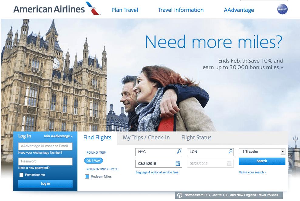 AA 官網查詢 紐約飛往倫敦里程票