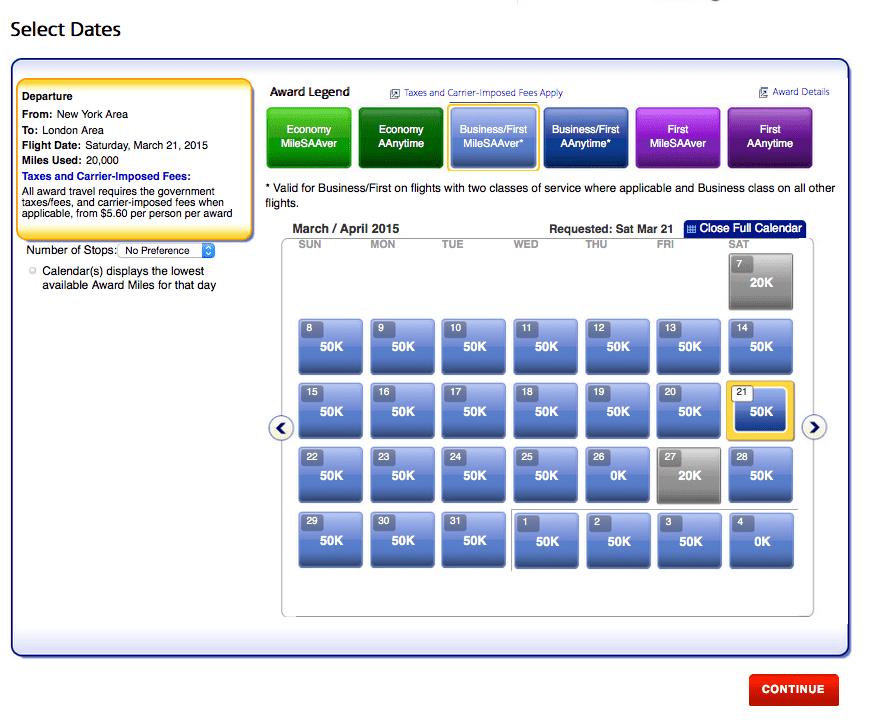 顯示一個月內符合條件之商務艙機票