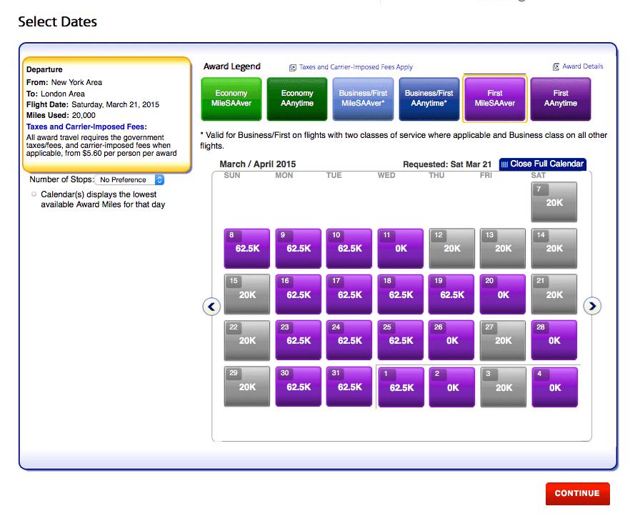 顯示一個月內符合條件之頭等艙機票