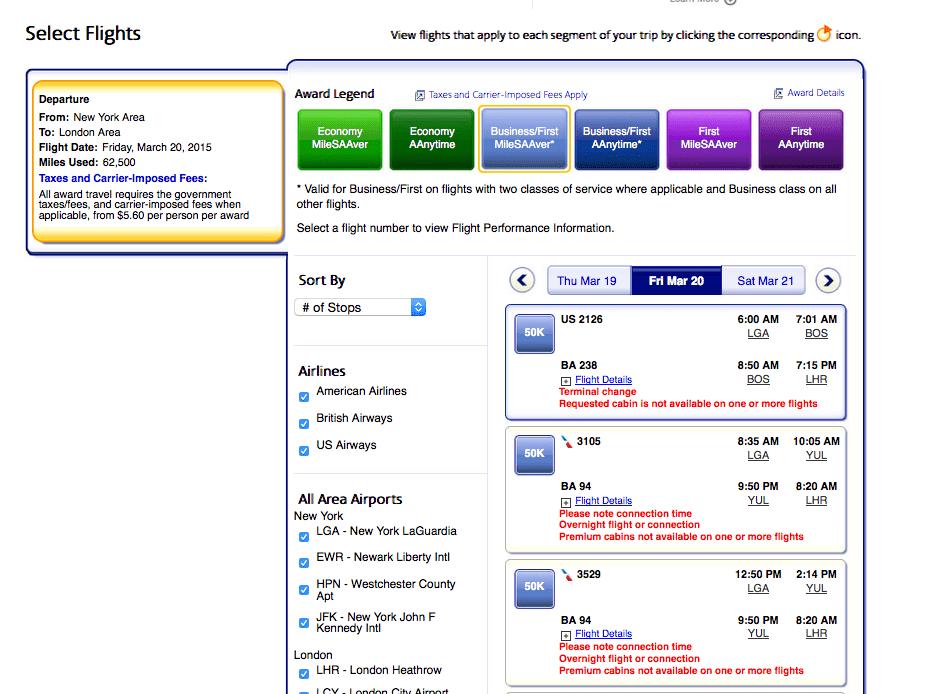 指定單一日期的商務艙機票(沒有直飛)
