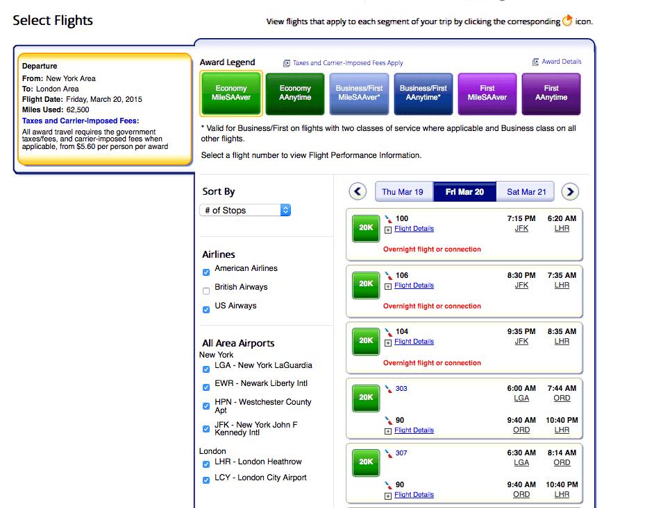 指定單一日期的經濟艙機票(去除英國航空班機)