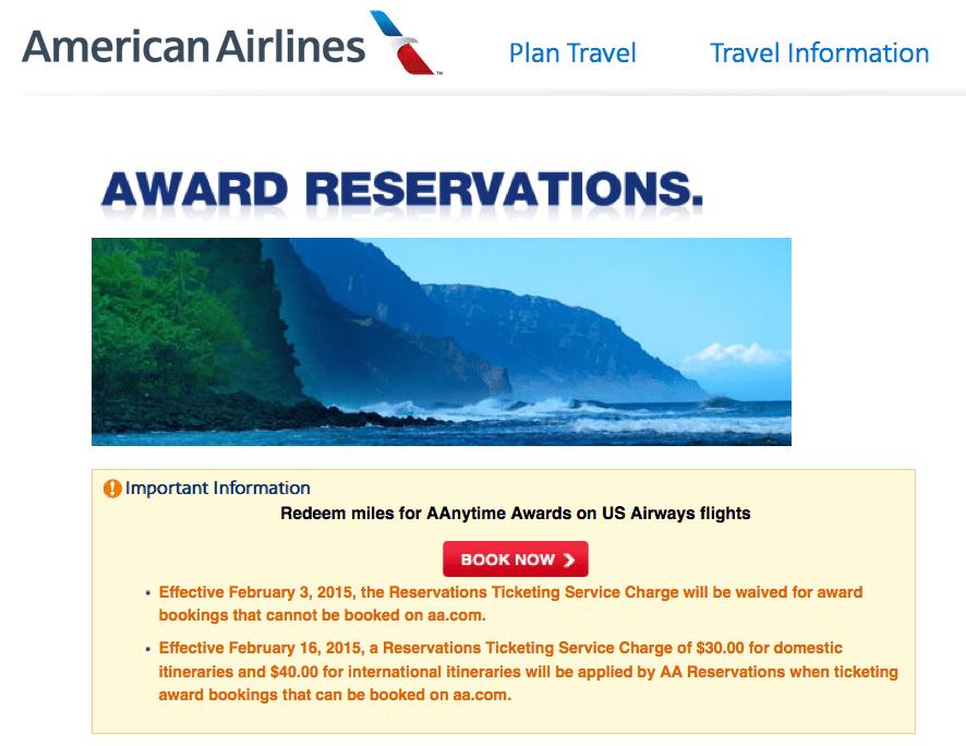 美國航空 (AA) 2/3 起取消電話開票費用於無法從官網訂位的獎勵機票