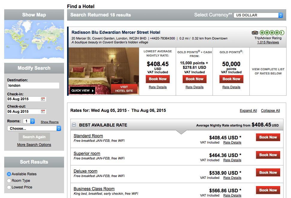 研究生找了今年暑假的房價。位於 Covent Garden 的 Radisson Blu 一晚超過美金 $400