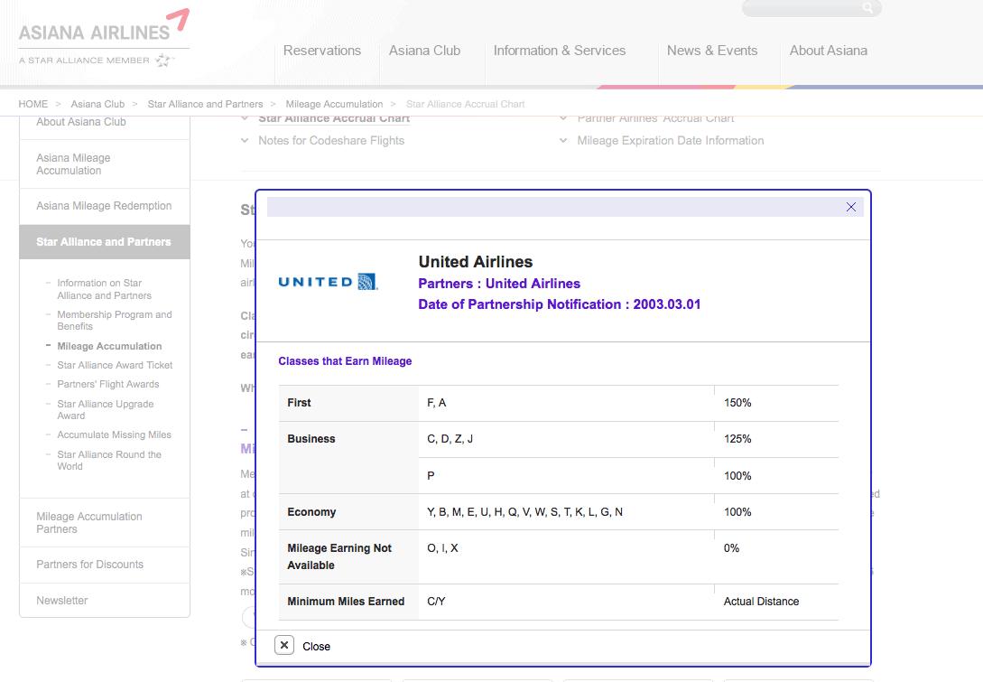 韓亞航空累積 UA 執飛的K艙仍然是 100%