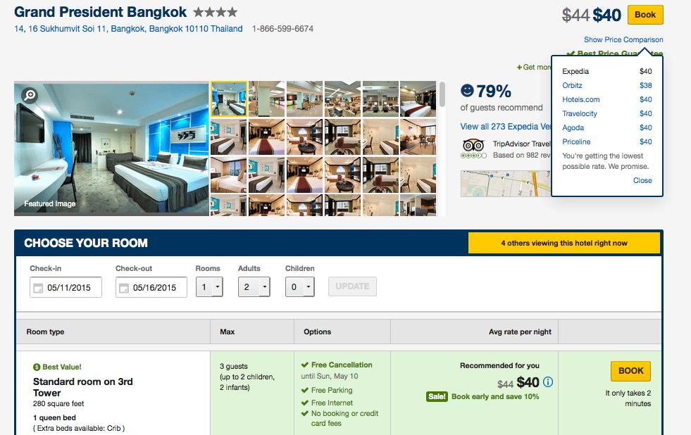 研究生隨意挑了日期,Grand President Bangkok 一晚 $39.92
