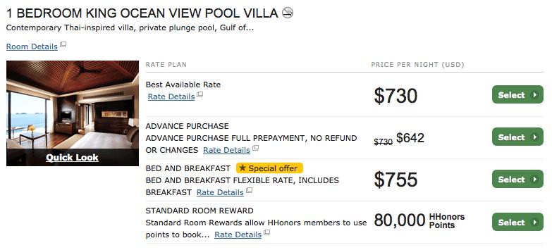 蘇梅島最頂級的 Conrad ,在自己房間的游泳池游泳看夕陽只要 $400一晚,跟現金 $860含稅相比只要一半。還需要去住沒有自己游泳池的飯店嗎?