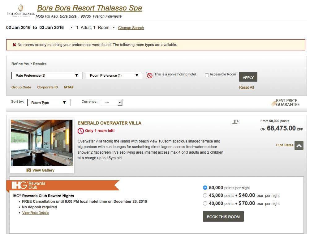 大溪地 Bora Bora 的飯店可以直接以 50,000 點兌換水上屋。其兌換價值高且是夢幻的旅遊地,也因此被研究生列為三大魔王之一
