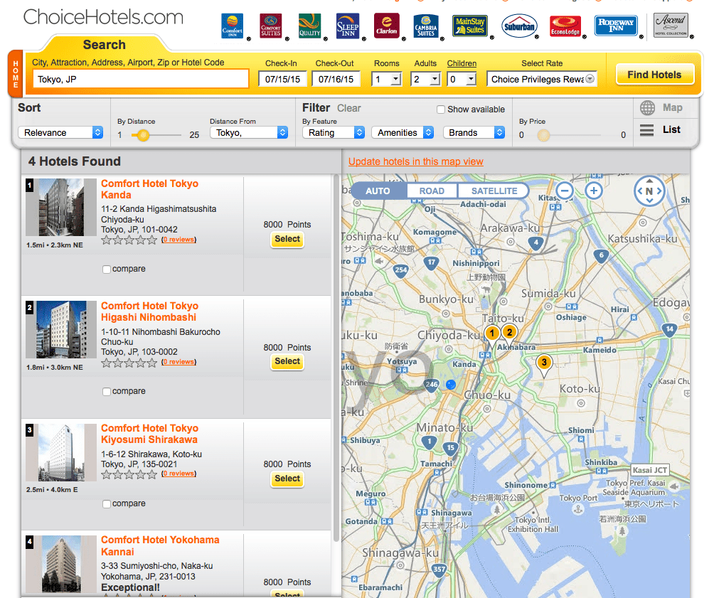 在東京(含近郊)四家  Comfort Inn 雙人房都只要 8,000 點