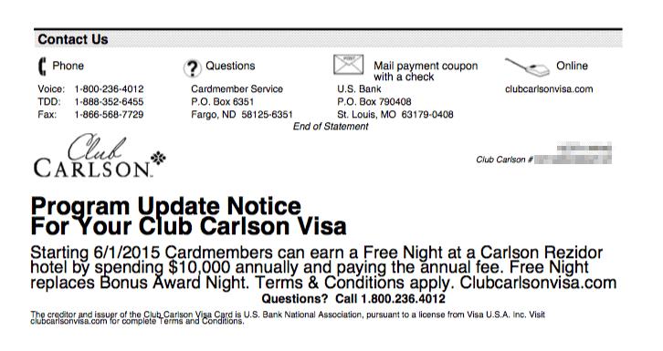 研究生在最新一期的Club Carlson 信用卡 statement 中,看到了「終於來的一天」:取消點數換房最後一晚免費