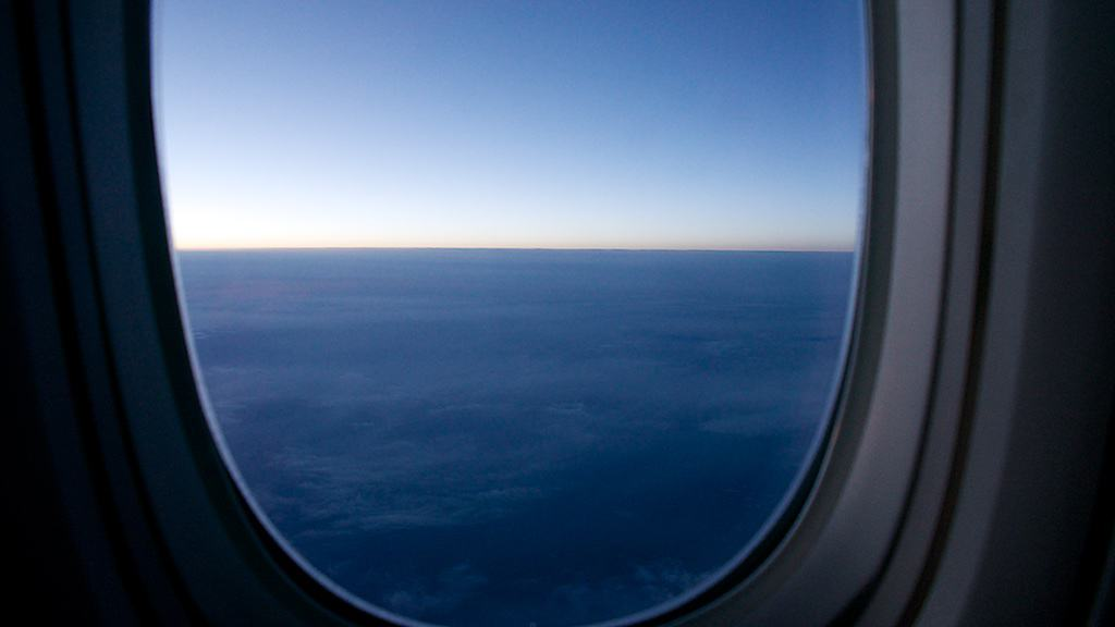 SQ2 的飛行全程幾乎都是白天,到了舊金山天也要黑了