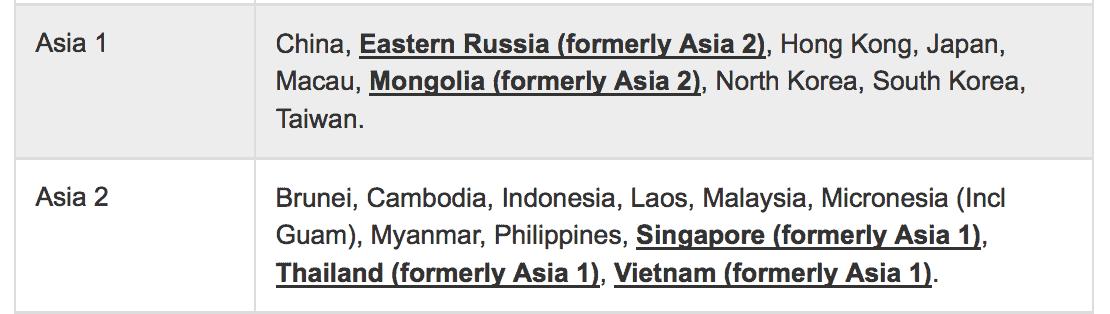 新加坡,泰國及越南,從亞洲一區改到亞洲二區
