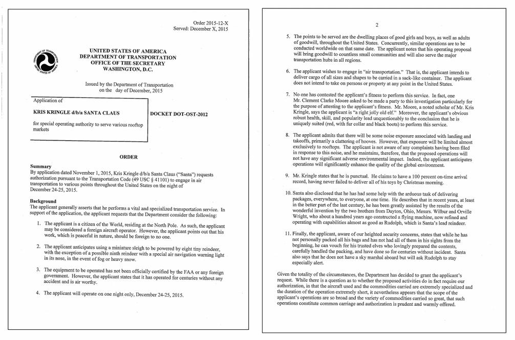 美國運輸部官網公告的核准飛行公文