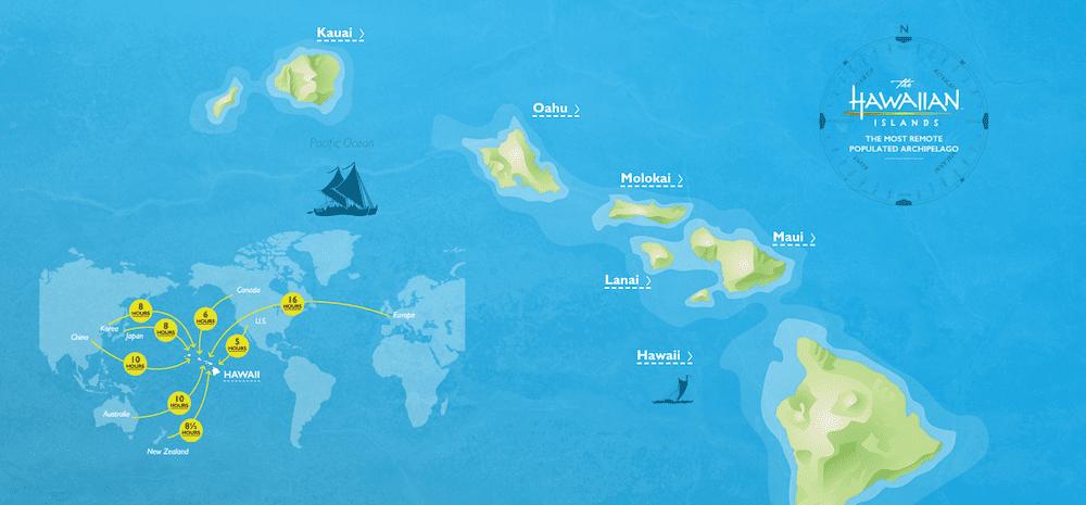 夏威夷主要觀光島嶼(歐胡,茂宜,可愛島和大島),取自夏威夷官網