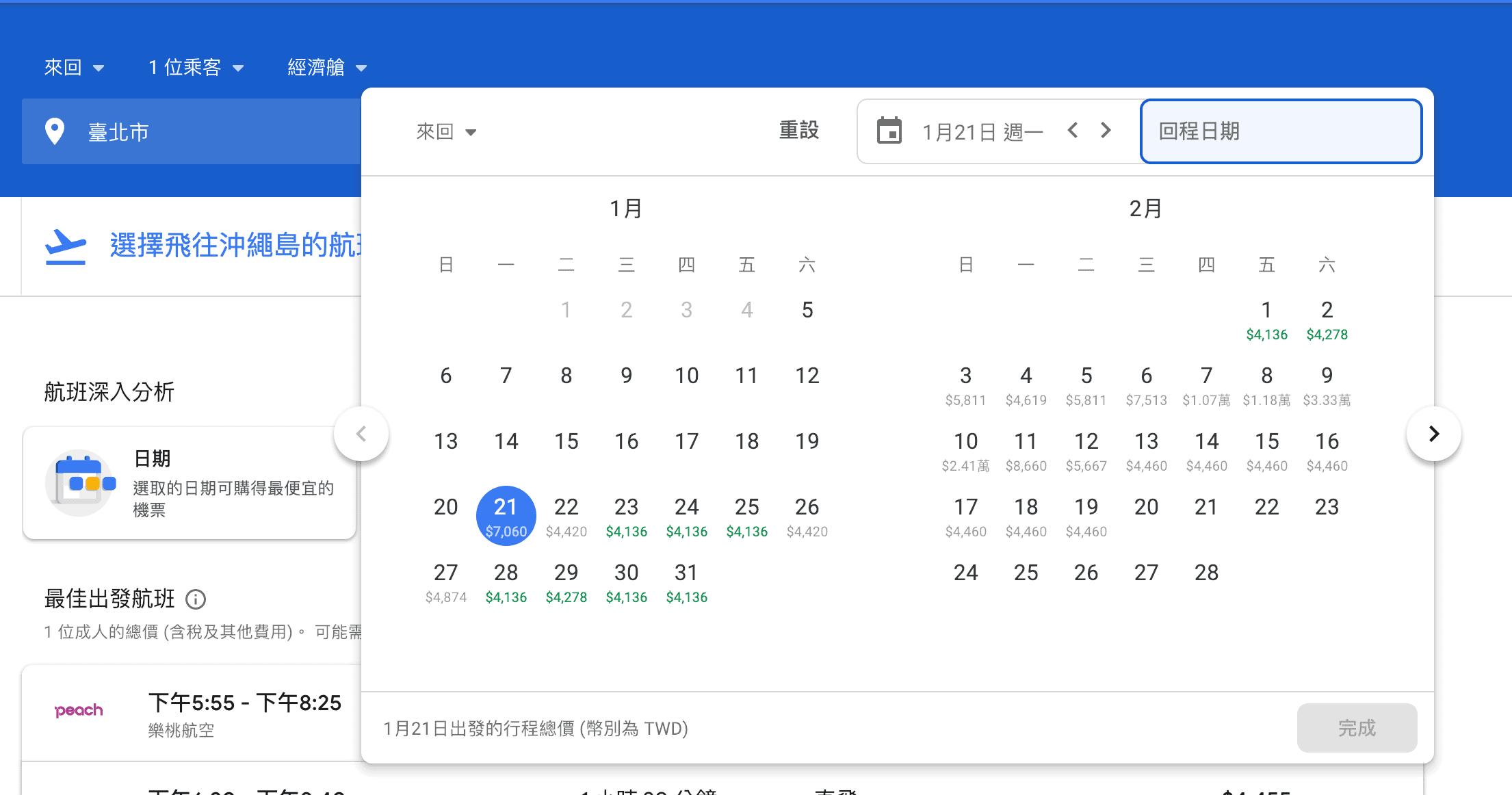 Google Flights 選擇去程日期後,可以看到不同回程日期的價格,非常方便啊~(研究生的點數旅行筆記)