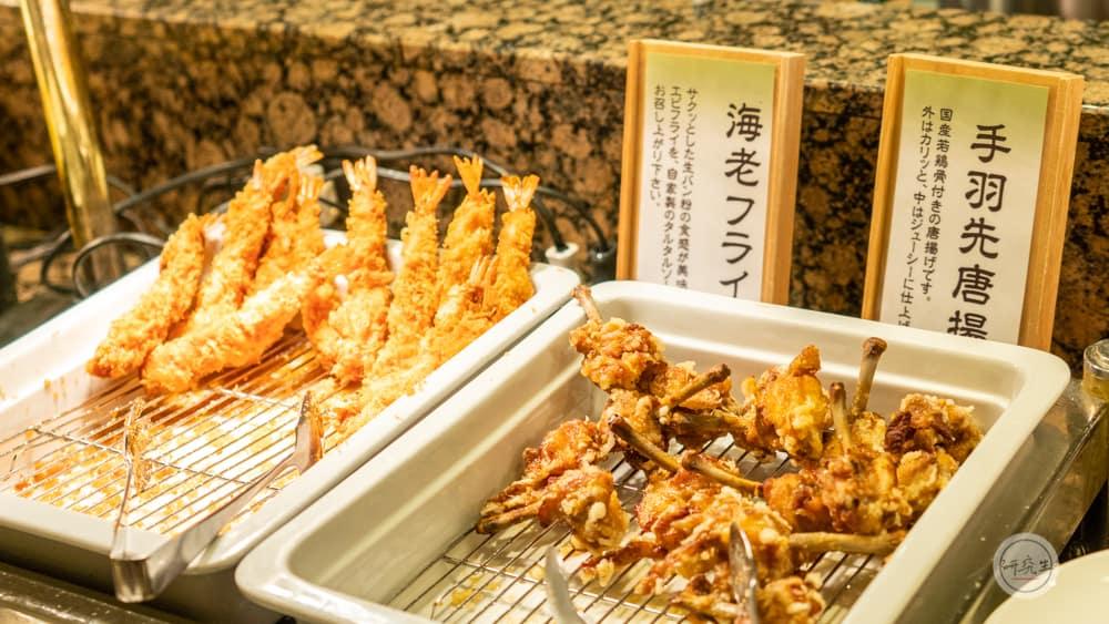 晚餐現炸的炸蝦和炸雞(有馬溫泉・兵衛向陽閣|研究生)